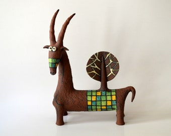 goat - brown goat - ceramic goat - ceramic sculpture - ceramic - sculpture - animal sculpture - goat sculpture - Inna Olshansky