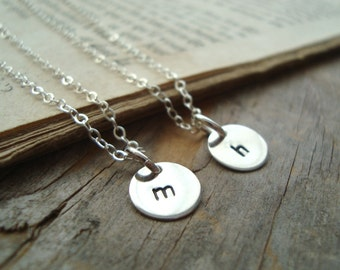 Silver Small Personalized Initial Charm Necklace - Quantity of Two - Bridesmaid Set, Custom Initial Disc, Monogram, Weddings, Bridal