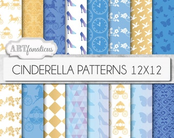 """Cinderella digital papers """"Cinderella Patterns"""" inspired by Disney's Princess Cinderella movie with glass slipper, horse & carriage"""