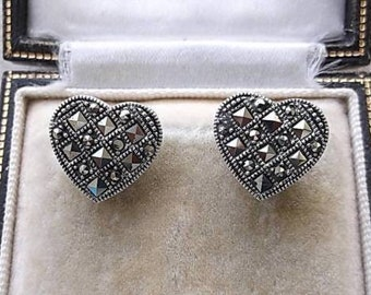Quality Genuine Silver & Marcasite Heart Stud Earrings