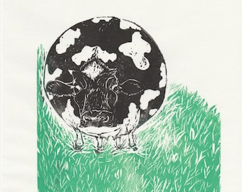 Spherical Cow Linocut - Imaginary Friends of Science Collection - Proverbial Spherical Cow of Physics - History Science Print