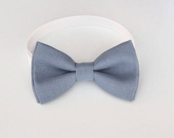 Dusty blue bow-tie for baby toddler teens adult - Adjustable neck-strap - Dusty blue wedding Bow Tie - Ring Bearer Outfit