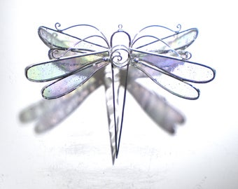 Winter Wings - Stained Glass Dragonfly Twirl - Medium Clear Home Garden Decor Hanging Suncatcher 3 Dimensional Yard Art (READY TO SHIP)