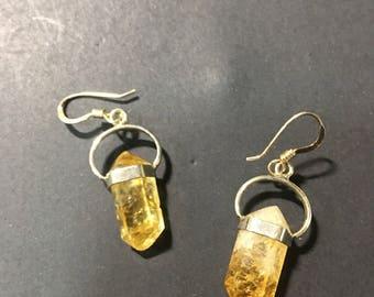 Citrine point Sterling Silver earrings