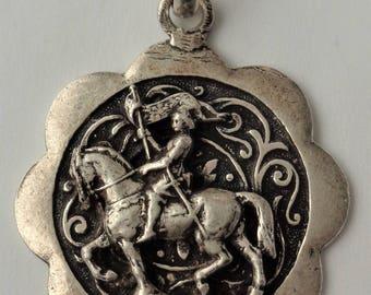 Rare Vintage Medal St. Joan Of Arc On Horseback