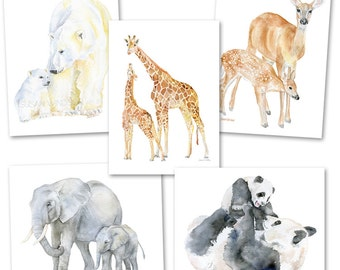 Mother and Baby Animals Watercolor Greeting Card Set - 5 x 7 - A7 size - Baby Animals
