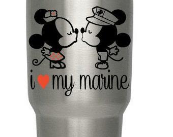 Mickey and Minnie USMC Decal Minnie Mouse Kissing Mickey Car, Window, Ipad, Tablet, laptop