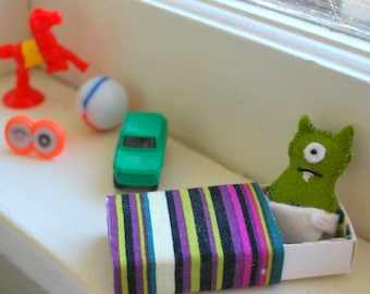 Tiny Green Matchbox Monster with play accessories - Miniature - Travel Toy - Play Set - Baby Monster - Bed - Kawaii