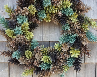 Pinecone Wreath in Beautiful Greens and Browns