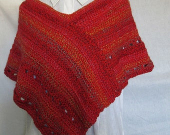 Womans Red Poncho Short Shoulder Wrap Handmade Crochet knit Spring Mothers Day Gift Trending Spring Sweater Cover Mini Shawl Wrap Unique