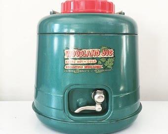Distributeur d'eau thermique Vintage vert forêt cruche par Poloron produits avec boîte d'origine