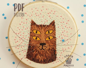 The Cat - PDF Embroidery Pattern, Hoop Art Pattern, Modern Embroidery, DIY Embroidery PDF Pattern for Instant Download,