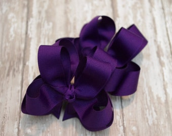 """Girls Hair Bows Purple Boutique 3"""" Double Layer Hairbows Set of 2 Pigtail Bows"""