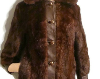 Vintage Brown Mink Fur and Leather Jacket Vintage Mink Fur Coat Fur and Leather Jacket Mink Fur Coat Brown Leather Fur Jacket Fall Jackets