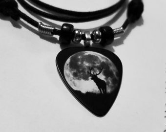 Guitar Pick Necklace - Deer Necklace - Animal Jewelry - Deer Jewelry - Moon Necklace - Adjustable - Black Cotton Cord - 2mm