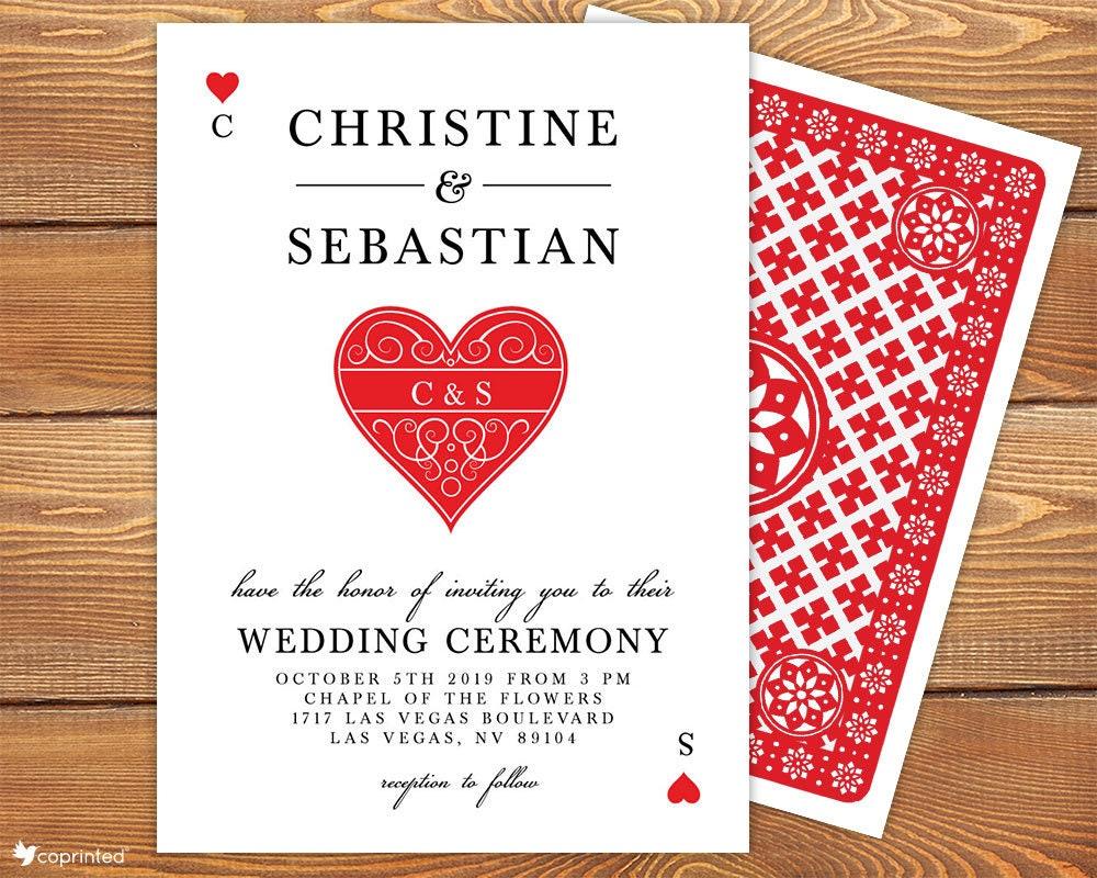 Personalized Las Vegas Wedding Invitation Set Casino Wedding