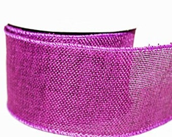Purple Wired Edge Hessian Ribbon - 6.5cm x 10 yards