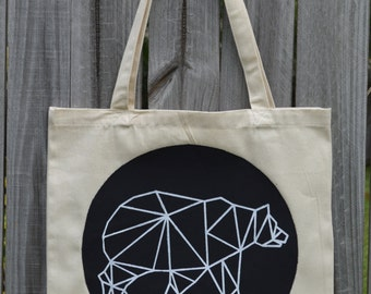 Geometric Bear Tote Bag - Pick Your Color - Bear Tote Bag