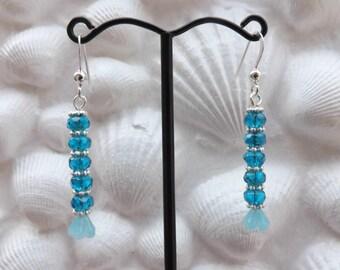 Delicate looking thin blue dangle earrings with sterling silver ear wires, blue glass earrings, thin blue earrings,