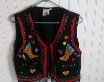 Vintage 1990s Black Western Vest with Fringe. Size Medium.