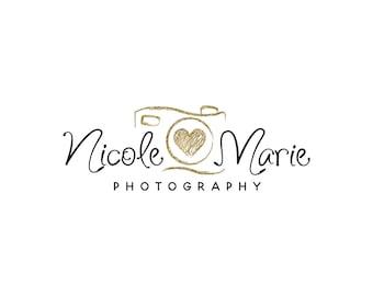Premade gold photography logo design, photography watermark,  calligraphy script font logo 338