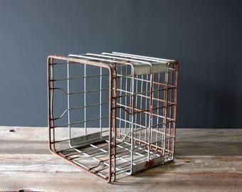 Vintage Wire Milk Crate Mid Century Storage