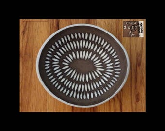 1950s INGRID ATTERBERG Upsala Ekeby Sweden #2127 Negro Pottery Bowl Dish~Signed mcm Art Ceramic~Mid Century Vintage~Scandinavian~EUC!~1 of 2