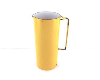DANSK Kobenstyle Tall Pitcher, Yellow Enamel, France IHQ, Jens Quistgaard, Martini Pitcher, Barware, Eames Era , Mid Century Modern, Danish