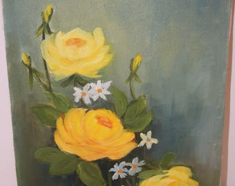 Vintage Signed Gladys Denton Floral Painting Fredrix Canvas 12x9 Painting Wall Decor Yellow Roses