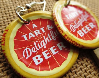 Shiner Grapefruit Summer Refreshing Bottle Cap Earrings