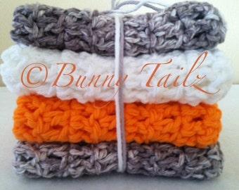 Dish Cloths Crochet Handmade Wash Cloths Spa Cloths Gifts Under 15 Orange White Gray