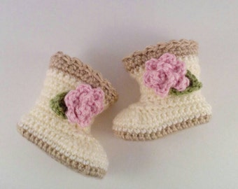 Cream Baby Girl Boots - Infant Girl Boots - Pink Flower Baby Boots - Baby Girl Gift - Baby Shower Gift - Baby Girl Shoes