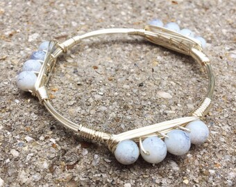White and Gray Marble Bead, Silver Wire Wrapped Bangle, Bourbon and Boweties Inspired