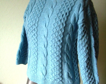 sweater women / teens, EU 36/38 / S, knitting pattern, cable, light blue, Large, Vintage