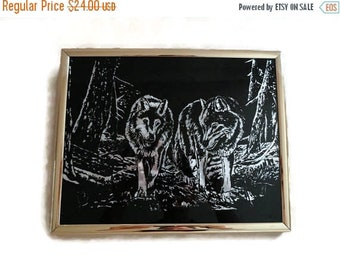 SALE Wolf Mirror Picture Wolves Gold frame Vintage