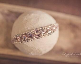 Beaded Crystal Pink Diamonte Girls Headband. Ada Pink Women Girls Pearl Crystal Headband. Beige Wedding Christening Bridesmaid Headband