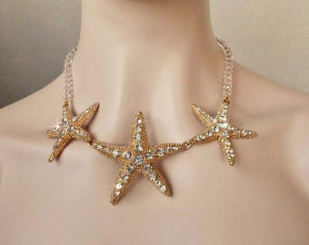 Yellow Gold Handmade Crystal Rhinestone Starfish Necklace, Beach or Destination Wedding, Bridal (Sparkle-1438)