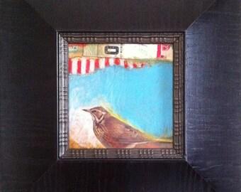 Bird, Original, Collage, Mixed Media, Fine Art, Framed