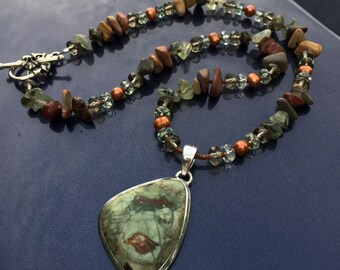 GOOD EARTH Necklace (Rainforest Rhyolite, Riverstone, Moss Agate, Freshwater Pearl, Czech Crystal)