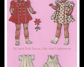 Vintage Doll Dress - For A Doll 22 Inches High - Pattern Includes Dress, Hat And Underwear - On Instant Download
