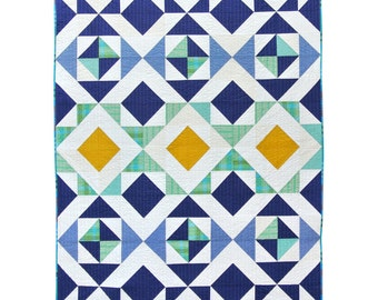 Nordic Triangles Quilt Pattern PDF Download - Original Homemade Modern Quilting Designs for Baby and Throw Sizes Easying Beginner Sewing