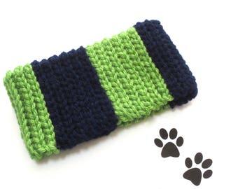 Dog Scarf Neck Warmer Cowl Pet Neckwarmer Blue Green Stripe Dog Collar Pet Cat Dog Clothes Puppy Accessories Winter Cowl Crochet Scarf Cozy