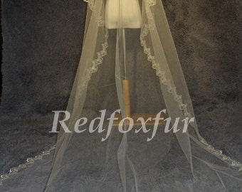 3 m cathedral wedding veil, white ivory bridal trailing veil, lace cathedral veil