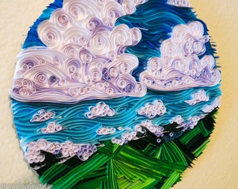 Quilled Clouds and Angular Moutains Circle Wall Art