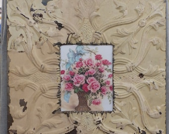 TIN CEILING Creamy Yellow Metal Picture Frame 8x10 Shabby Recycled chic 529-16