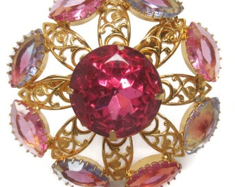 Gorgeous Pink and Violet Givre Rhinestone Filigree Brooch        Mad Men