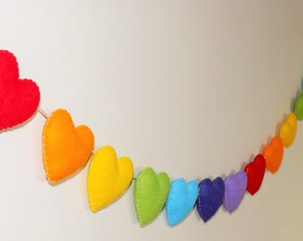 Rainbow felt heart garland, rainbow unicorn nursery, rainbow heart garland, nursery decor,  baby shower garland,  rainbow garland