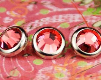 10 Padparadscha Crystal Hair Snaps - Round Silver Rim Edition -- Made with Swarovski Crystal Element Rhinestones