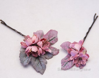 Rose Pink and Green Flower Bobbie Pins, Bridesmaids Flower Hair Accessories, Wedding Hair, Flower Girl, Flower Hair Accessories