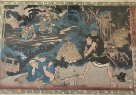 """Utagawa Yoshitora Woodblock Print, c. 1850. """"Ono Sadakuro Killing Yoichibei to Rob his Money"""""""